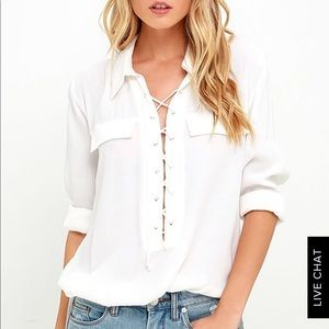 Lulu's lace up blouse in ivory